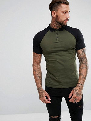 ASOS Polo With Contrast Raglan In Green
