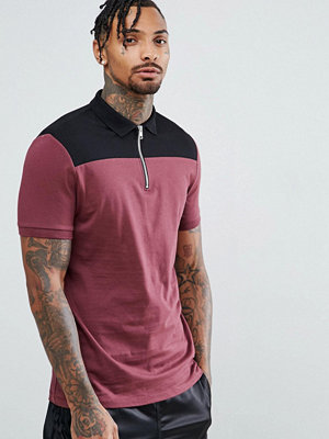 ASOS DESIGN contrast panel polo with zip neck