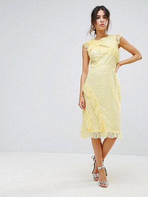 Warehouse Eyelash Lace Frill Dress