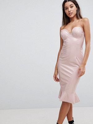 Club L High Shine Bandeau Bodycon Dress With Frill Hem - Nude