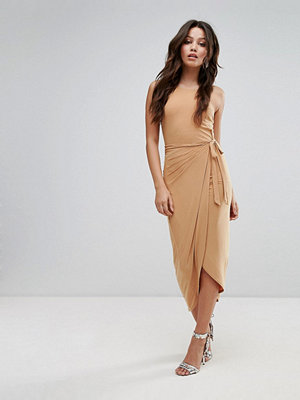 Club L High Neck Wrap Front Slinky Midi Dress - Camel