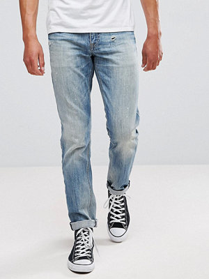 ASOS Slim Jeans In Mid Wash Vintage With Abrasions