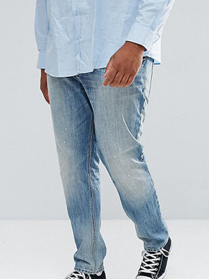 ASOS PLUS Slim Jeans In Mid Wash Vintage With Abrasions