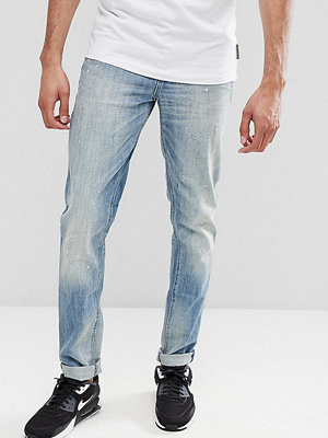 ASOS TALL Slim Jeans In Mid Wash Vintage With Abrasions