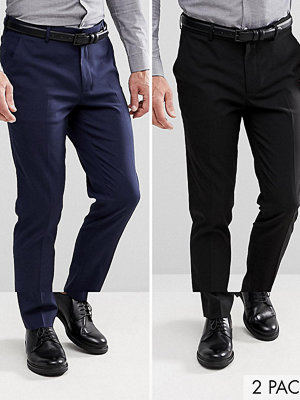 ASOS 2 Pack Skinny Trouser In Black And Navy SAVE