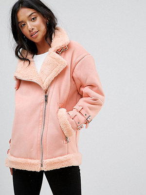 ASOS Petite Aviator Jacket in Faux Suede