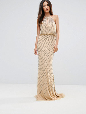 Forever Unique All Over Embellished Maxi Dress With Drape Back - Light pink