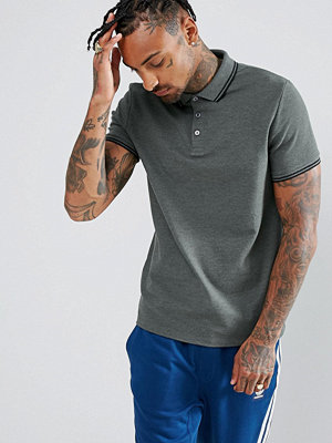 ASOS Benham Pique Polo With Tipped Collar In Grey