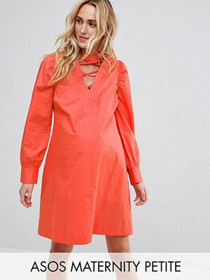 ASOS Maternity PETITE Tie Waist mini dress with Lattice Front - Coral