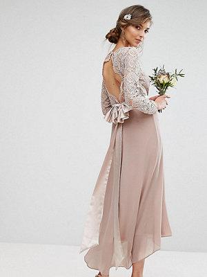 TFNC Tall Lace Midi Bridesmaid Dress With Bow Back - Mink