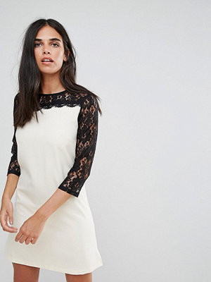 Paper Dolls Asymmetric Lace Sleeve Tunic Dress - Cream/black
