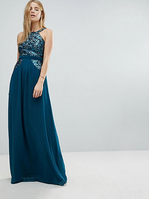 Little Mistress High Neck Sequin Detail Maxi Dress