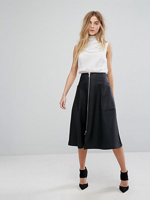 ASOS Leather Look Midi Skirt with Zip and Pockets