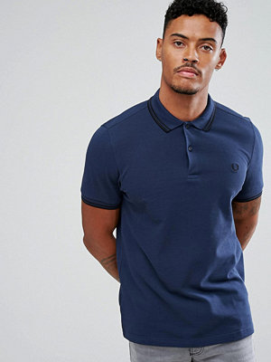 Fred Perry Slim Fit Tipped Polo In Service Blue - Deep night