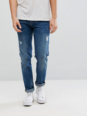 ASOS Stretch Slim Jeans In Dark Wash Vintage With Abrasions