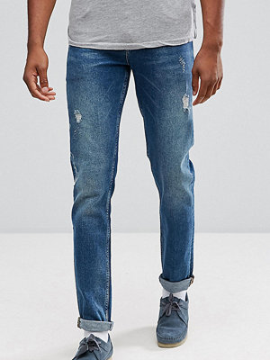 ASOS TALL Stretch Slim Jeans In Dark Wash Vintage With Abrasions