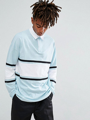 ASOS Oversized Long Sleeve Rugby Polo Shirt With Contrast Panelling