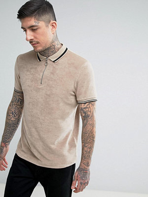 ASOS Polo Shirt In Towelling With Zip Neck And Tipping