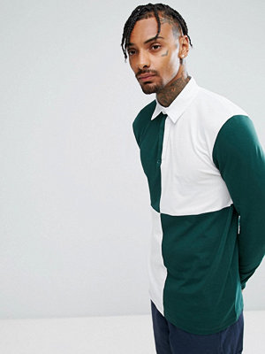 ASOS Longline Long Sleeve Rugby Polo Shirt With Colour Block Body