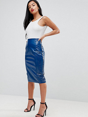 ASOS Petite Exclusive Cracked Vinyl Midi Skirt - Petrol blue