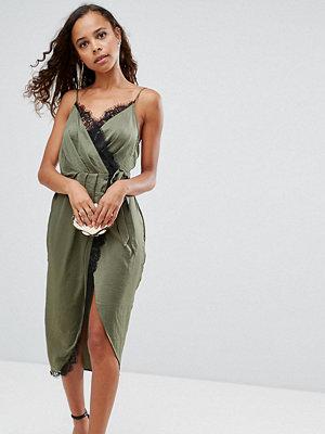 ASOS Petite Hammered Satin Lace Trim Cami Sexy Wrap Midi Dress