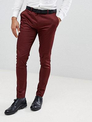 ASOS WEDDING Super Skinny Smart Trousers In Burgundy Cotton Sateen