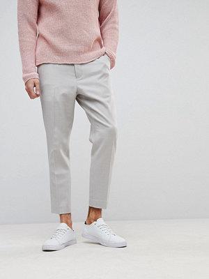 ASOS Tapered Smart Trouser In Putty 100% Merino Wool