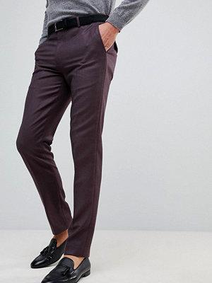 ASOS Skinny Smart Trousers In Burgundy 100% Merino Wool
