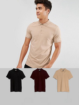 ASOS Muscle Fit Jersey Polo 3 Pack SAVE