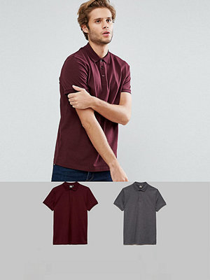 ASOS Short Sleeve Polo in Jersey 2 Pack SAVE