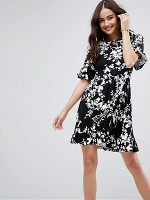 ASOS Mini Tea Dress with Frill Wrap in Mono Print - Mono floral