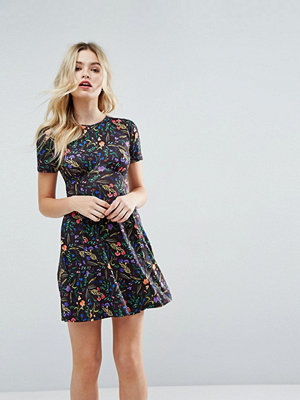ASOS Ultimate Mini Tea Dress In Black Floral - Black floral