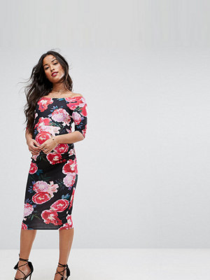 ASOS Maternity Bardot Dress with Half Sleeve in Dark Floral Print