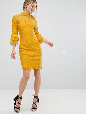 Paper Dolls High Neck Midi Lace Dress with Double Frill Sleeve - Mustard gold