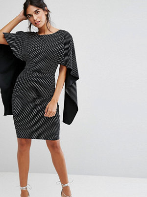 City Goddess Midi Dress With Ruffle Sleeve In Polka Dot Print - Polka dot