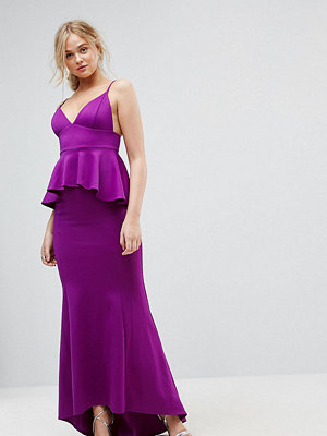 City Goddess Tall Peplum Fishtail Maxi Dress