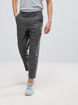ASOS Tapered Smart Trousers In Charcoal Texture