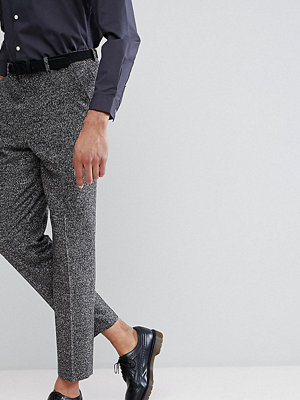 ASOS TALL Drop Crotch Tapered Smart Trousers In Charcoal Texture