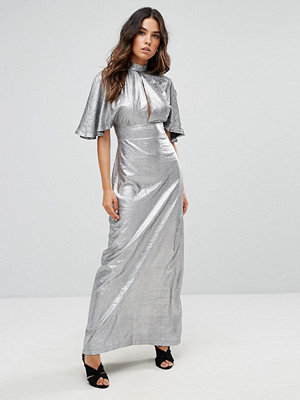 Liquorish Gun Metal Maxi Dress With Cut Out Front - Gun metal