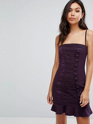 Misha Collection Button Detail Mini Dress With Frill Hem