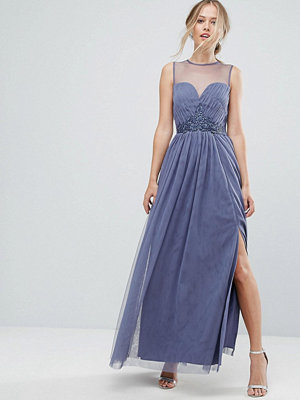 Little Mistress Sweetheart Mesh Maxi Dress With Embroidered Trim