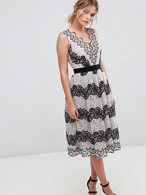 Little Mistress Midi Dress In Contrast Lace