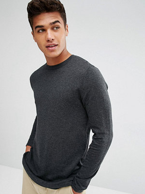 ASOS Longline Cotton Jumper In Charcoal