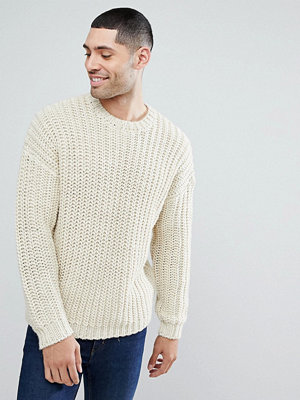 ASOS Heavyweight Fisherman Rib Relaxed Fit Jumper In Oatmeal