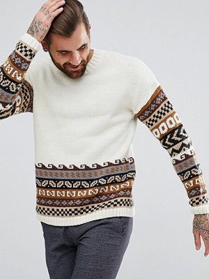 ASOS Relaxed Fit Jumper With Retro Design - Ecru