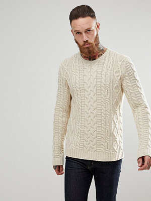 ASOS Chunky Cable Knit Jumper In Oatmeal