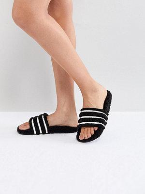 Adidas Originals Adilette Furry Slider Sandals In Black - Black