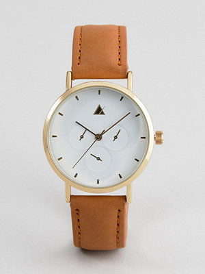ASOS DESIGN sub dial detail leather watch - Tan