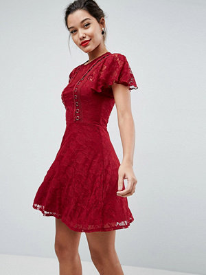 ASOS Mini Lace Skater Dress with Eyelets - Wine