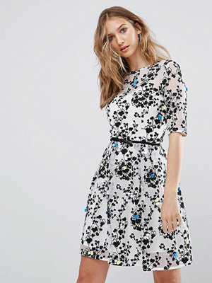 Little Mistress Embroidered Mini Skater Dress With 3/4 Sleeve